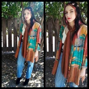 Beautiful vtg 80s southwestern style rayon jacket